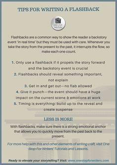 Checklists and Tip Sheets: FLASHBACKS CHECKLISTS | One Stop For Writers