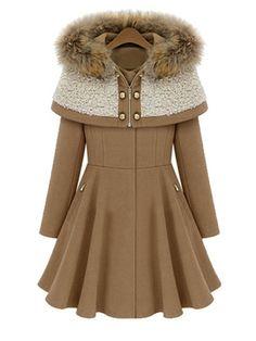 Detachable Hood Zips Pocket Plain Coat