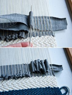 Fabric manipulation and textile design Tips on Weaving with Denim Weaving Textiles, Weaving Art, Weaving Patterns, Loom Weaving, Tapestry Weaving, Fabric Weaving, Knitting Patterns, Rug Loom, Stitch Patterns