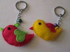 Bird Keychain - Birdie Plush Key Chain - Felt Bird Key Holder - Kawaii Bird. $8.00, via Etsy.