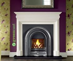 Open fronted convector gas fire Provident highlight finish fireframe Balanced flue or glass fronted gas fire option One size only Distributed by Capital Fireplaces Shown: Provident H/L polished cast iron arch, open convector gas fire, Mulholland Agean Limestone fire surround and granite hearth