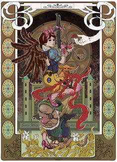 Korean artist Inshoo has rebooted classic heroines from childhood as steampunk Art Nouveau bad-asses.