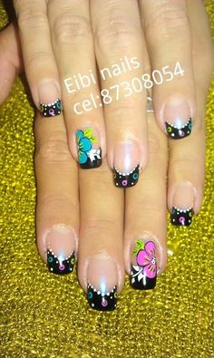 Bellas Gorgeous Nails, Love Nails, Pretty Nails, My Nails, Cute Nail Art, Crazy Nail Art, Crazy Nails, French Nail Designs, Cool Nail Designs