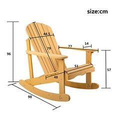 Leisure Zone ® Adirondack Rocking Armchair for Garden & Patio in natural solid wood Comfortable curv Rattan Garden Furniture Sets, Outdoor Furniture Plans, Wood Pallet Furniture, Woodworking Furniture, Wood Pallets, Diy Furniture, Woodworking Projects, Furniture Market, Steel Furniture