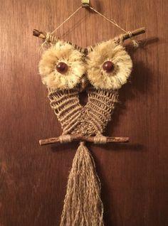 OWL macrame wall hanging sisal jute. made to order by GALERIASABKO