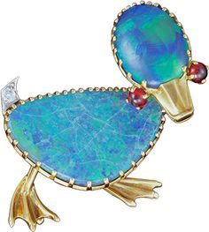 ALBION ART Antique Jewelry - Gold, Platinum, Black Opal Brooch, Cartier ca. 1950.