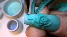 """ MINTED "" Acrylic Nails. Wow, this is soooo cool!! It almost looks like sculpting with clay. :)"