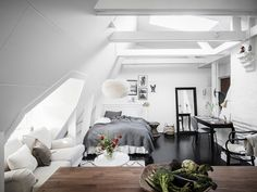 Scandinavian attic studio apartment