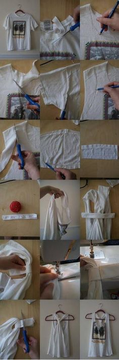 how to cut t-shirt into tank top. * I tried this today and instead of sewing, I rolled the sleeve flat and knotted it on the back and trimmed the extra off. Looks the same and lots easier for me! (i'm not a seamstress)