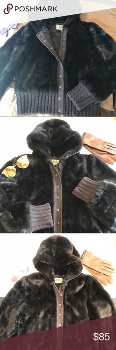 Juicy Couture Chocolate Faux Fur Bomber Jacket This is a chocolate brown/dark brown Juicy Couture Faux Fur Bomber Jacket. It's preowned, but in excellent used condition. Even the lining looks beautiful, no snags, etc. Juicy Couture Jackets & Coats