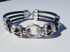multistrand leather Bracelet silver plated skull von myDemimore