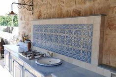 masonry kitchen with terracotta tiles and lava stone top with lavel … - Bbq İdeas