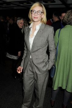 Cate Blanchett attends an after party celebrating the Sydney Theatre Company's production of Big and Small (Gross und Klein) on April 14, 2012 in London, England wearing an Hermès suit and oversized glasses.