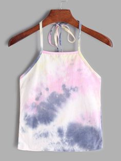 SheIn offers Tie Dye Halter Cami Top & more to fit your fashionable needs. Outfits Niños, Tie Dye Outfits, Girly Outfits, Outfits For Teens, School Outfits, Summer Outfits, Cami Tops, Crop Top Shirts, Tie Dye Tops