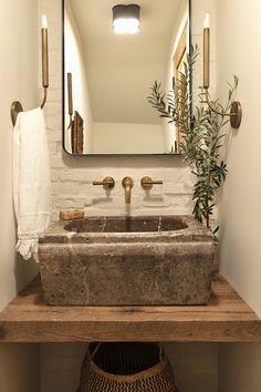 House Tour-Portugal Dreaming in California Bathroom Interior Design, Interior Decorating, Decorating Tips, Interior Paint, Interior Design Minimalist, Stone Sink, California Homes, California Home Decor, Bathroom Inspiration