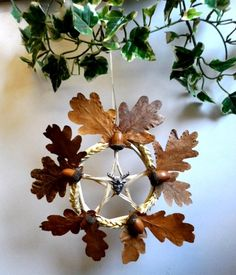 Wheat, Acorn and Oak Leaf Pentacle: first harvest, and the midpoint of the descent to Mabon for the Oak King. Mabon, Samhain, Holly King, Autumnal Equinox, Wiccan Crafts, Autumn Crafts, Yule Crafts, Sabbats, Beltane