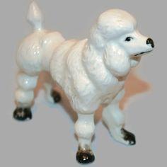 Vintage White Standing Poodle  Dog by ArtsyVintageBoutique on Etsy
