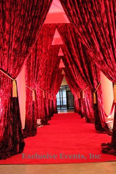 Image detail for -Red Carpet Entrance | Exclusive Events, Inc. Tier Curtains, Cute Curtains, Red Room Decor, Red Houses, Velvet Drapes, Lady In Red, Red Carpet Party, Red Rooms, Red Apple