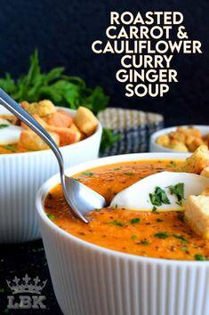 Healthy Soup Recipes, Vegetarian Recipes, Cooking Recipes, Puree Soup Recipes, Healthy Fall Soups, Cauliflower Curry, Cauliflower Soup Recipes, Roasted Carrots, Roasted Veg Soup