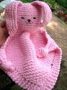 Bunny Blanket BuddyThis knit pattern / tutorial is available for free...  Full Post:Bunny Blanket Buddy