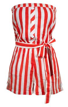 This cute retro inspired romper features include linen fabrication, pockets at hips, tie at waist, added stretch around chest, and cute button details.