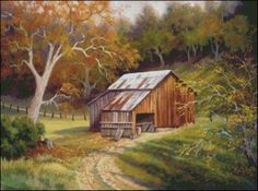 free country barn and house cross stitch patterns Country Barns, Old Barns, Country Life, Watercolor Landscape, Landscape Paintings, Watercolour Paintings, Watercolor Bird, Oil Paintings, Barn Pictures