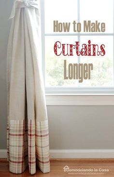 How to make curtains Longer - a twin flat sheet was used for the extensions.