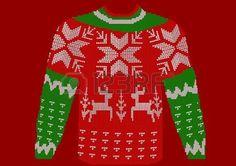 wool+jersey%3A+kerst+jumper+op+rode+achtergrond.+Stock+Illustratie