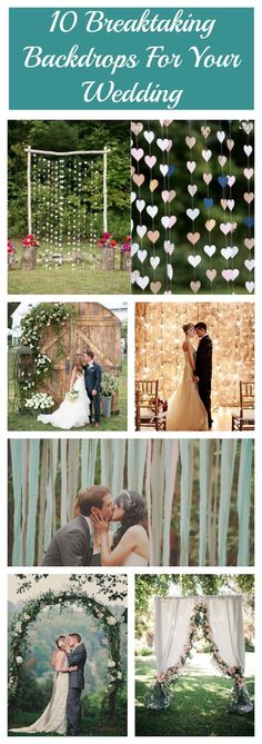 "Every couple wants the perfect backdrop for their ""I do"" moment, but with so many options out there, how will you possibly choose? To help you out, I put together a list of 10 breathtaking backdrops that would be perfect for your rustic chic style wedding. For more backdrop inspiration for your outdoor ceremony, check out this post. 1. Hearts on Strings 2. Classic Wooden Arch 3. Greenery and Tulle 4. Bright Flowers and White Doors 5. Old Barn Doors 6. Sparkling Lights 7. Flowing Ribbons 8…"