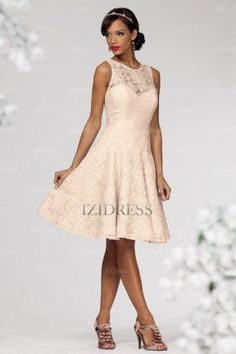 A-Line/Princess Jewel Knee-length Lace Evening Dresses - IZIDRESSES.com at IZIDRESSES.com