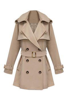 Slim Medium Style Khaki Trench Coat#Romwe