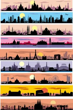 9 traveling the city silhouette vector banner Skyline Silhouette, Sunset Silhouette, Silhouette Vector, Silhouette City, City Illustration, Digital Illustration, Skyline Art, Skyline Tattoo, Skyline Painting