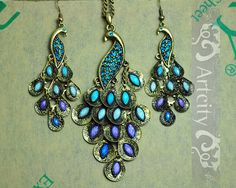 Elegant vintage style Peacock Jewelry, Peacock Necklace and Peacock Earrings Set, Blue and purple Crystals feather