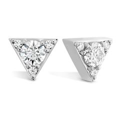 The Triplicity Triangle Stud Earrings are a fashion forward, modern twist on the classic diamond stud earrings. These beautiful studs make a big statement with an edgy shape and dazzling sparkle, making them the perfect earrings to go from day to night. White Gold Diamond Earrings, White Gold Diamonds, Round Diamonds, Diamond Jewelry, Silver Jewelry, Fine Jewelry, Fire Heart, Quality Diamonds, Diamond Stone