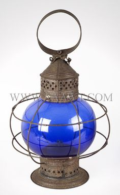 Ship's Signal Lantern, Whale Oil, Blue Onion Globe, American 19th century