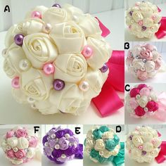 Satin Rose Bridal Bouquet For Wedding Artificial Hand Made Flowers With Pearls With Ribbon Edge Brides Handheld Unique Posy In Stock 2015 #dhgatePin