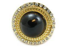 "Gold Tone Stretch Metal Ring With Acryclic Jewelry - Diameter 1.25"" SevenTag. $14.99. Stretch Ring. Rhinestone. Gold tone metal. Acrylic Jewelry. Lead & Nickel Safe"