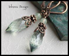 Teal Green Quartz and Prehinte Copper Filigree Earrings Victorian