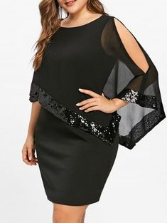 Plus Size Fitted Sequins Overlay Dress - BLACK 5XL