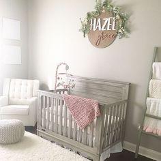 Sweet grey and pink baby girl nursery, #nursery decor for girls, #handmade wood sign for nursery, #nurserydecor // #modwoodco