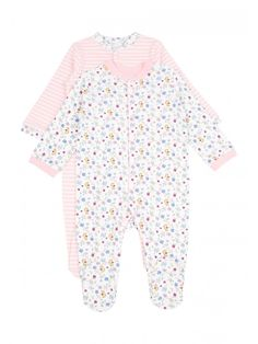 Baby Girl 2 Pack Floral Sleepsuits. See more at http://www.parentideal.co.uk/peacocks--baby-sleepsuits.html or visit click on link to visit shop and view current prices. Sizes Newborn to 18 months, cotton, machine washable. #Sleepsuits #Sleepsuit #BabyNightwear #BabyClothes #Newborn #BabyGirlsClothes #Babygrow . Pink flower babygrow girls