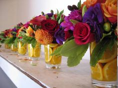 Bright Floral and Fruit Centerpiece