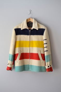 1950s Hudson Bay coat: cozy AND cute. $125 Ha, I actually made a jacket out of this same blanket way back in 1977. I had snaps, donated it to a thrift store in Flagstaff, Arizona!