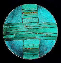 Turquoise Strata Bowl: Lynn Latimer: Art Glass Bowl - Artful Home