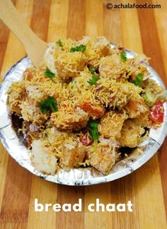 Bread Chaat is a chatpata treat with a blast of flavors and multiple textures. A layer of flavourful and crispy bread is topped with chopped veggies, curd, and the chutneys Bread Snacks Recipe, Snack Recipes, Cooking Recipes, Bread Recipes, Sandwich Recipes, Kitchen Recipes, Appetizer Recipes, Indian Food Recipes, Vegetarian Recipes
