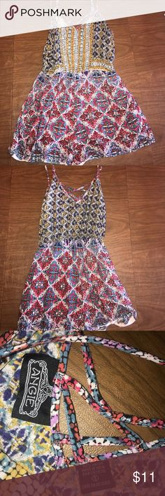 Multi-colored summer romper Purchased at Marshall's. Great for summer. Size: small. Worn once, excellent condition Angie Dresses Mini