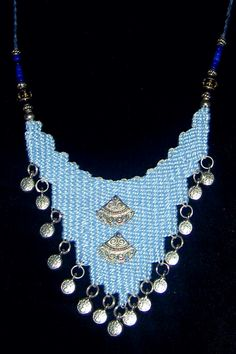 """Sky"" - 2010 - Adjustable length with silver accents on a solid field.  SOLD.  Woven by Terri Scache Harris, theravenscache.shutterfly.com   Hand woven, handwoven, weaving, weave, needleweaving, pin weaving, woven necklace, fashion necklace, wearable art, fiber art."