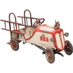 juguetes antiguos,vintage,tin toys carro de bomberos antiguo