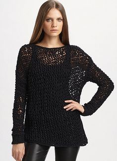 Helmut Lang Alpaca Crochet Sweater via Saks Fifth Avenue