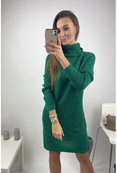 Dámske svetrové šaty s rolákom s dlhým rukávom Sweaters, Dresses, Fashion, Vestidos, Moda, Fashion Styles, Sweater, Dress, Fashion Illustrations